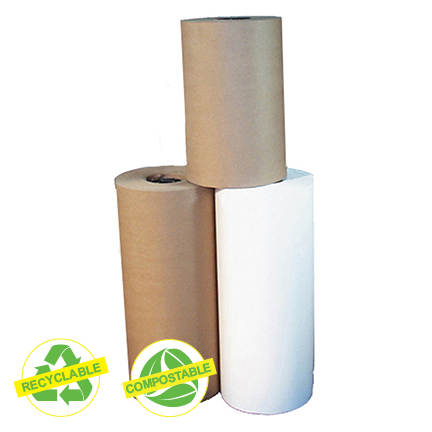"Papier kraft, base 40, blanc, 15"" (750'), recyclable/compostable"
